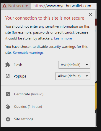 HTTPS Warning: Insecure (Phishing) Website
